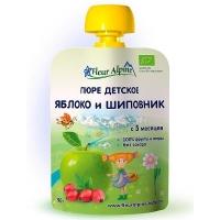 Детское пюре Fleur Alpine ЯБЛОКО и ШИПОВНИК 90 гр. Organic для детей с 5 мес.